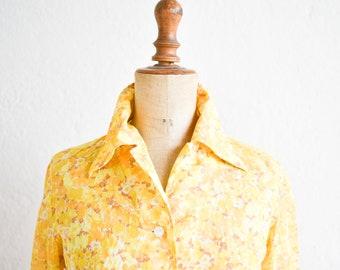 70s blouse yellow orange Swiss vintage Ed Sturzenegger AG cotton floral collar button down long sleeve shirt adult woman medium size FR40