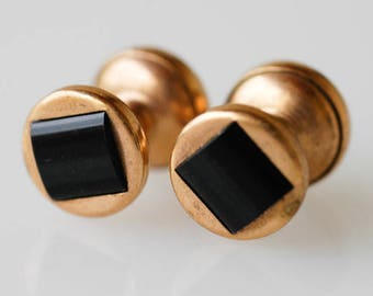 cufflinks vintage french black gold tone metal extending link retractable chain dandy fashion midcentury modern geometric gift for the groom
