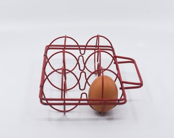 french vintage wire egg holder red basket case top handle for six midcentury kitchen storage kitchen decoration rustic farmhouse 50s rare