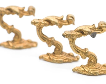 antique hooks French vintage bronze gilded brass matching set of 3 for the wall rustic farmhouse home decor improvement storage ornate rare