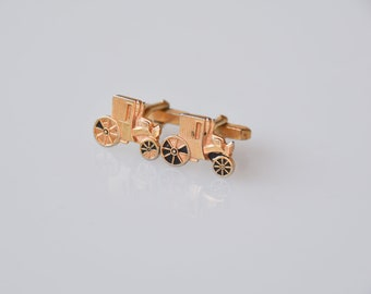 cufflinks classic car vintage fashion gold tone metal with black detail dandy accessories maker mark to be identified