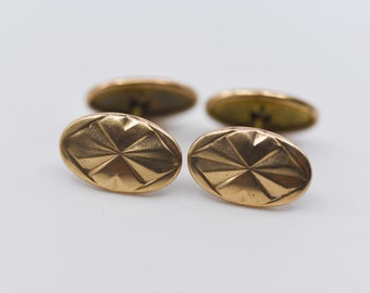 cuff links French vintage gold plated metal Charles Murat oval geometric triangle maker mark midcentury modern dandy made in France 1950s