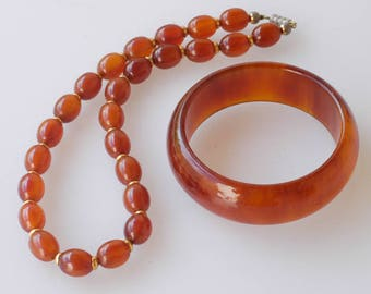 bakelite necklace bangle set matching choker bracelet french vintage early plastic tested 88g orange amber collectible jewellery rare 1950s