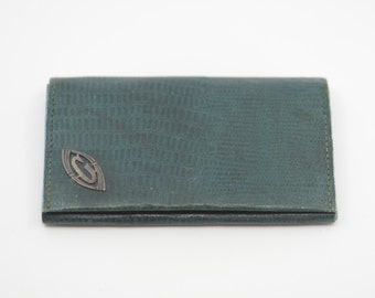 wallet green leather purse silver metal monogram initial letter G French antique art deco bifold flat vintage pouch on front  made in France