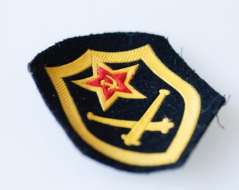 military patch Soviet Union USSR pre-1991 fabric militaria artillery black yellow vintage collectible Russian army badge