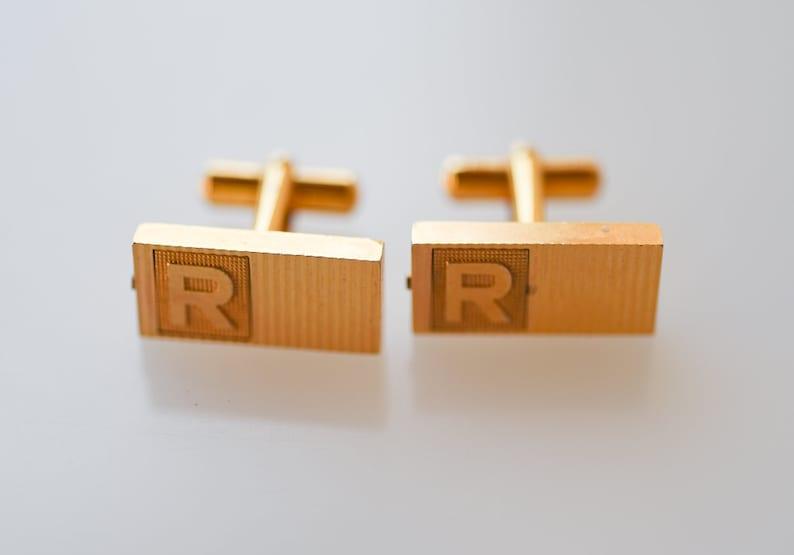cufflinks antique monogram R french vintage gold tone image 0
