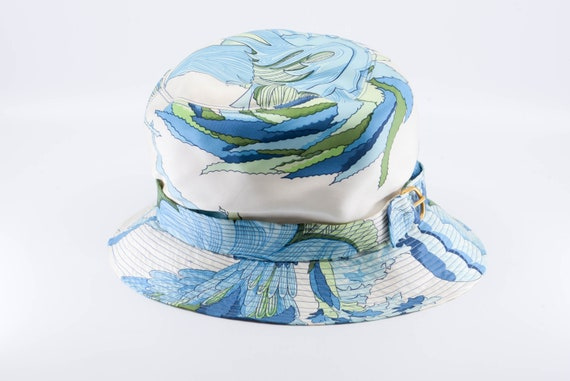 vintage silk HERMES PARIS sun bucket hat blue gre… - image 9