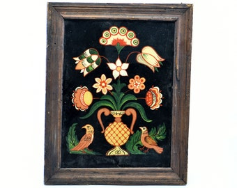 reverse hand painted glass art wood frame French vintage shabby chic antique style vase flowers birds portrait vertical home for the wall