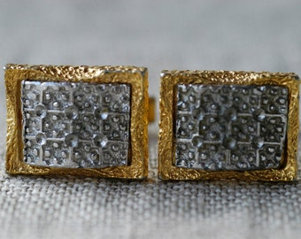 cufflinks vintage modernist brutalist midcentury gold silver tone metal Commodore made in London dandy collectible jewellery fashion rare
