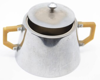 sugar bowl French vintage SELECTA Paris lid handles coffee set accessory for the table storage container conical shape stainless metal 1950s