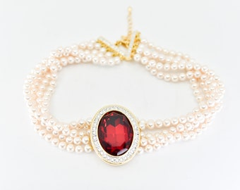 choker necklace vintage faux pearl large oval red faceted glass  cabochon rhinestone gold tone 5 strand statement jewellery adjustable 1990s