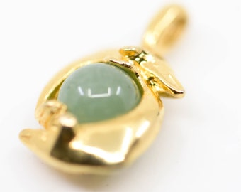 dolphin ball charm pendant polished gold tone metal green jade sphere natural healing protection gemstone craft supply for jewellery