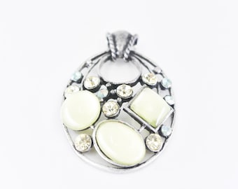 moonglow pendant French vintage large statement oval pendant green cabochons iridescent and yellow paste large bale pewter tone metal rare