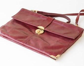 leather handbag top handle bag detachable shoulder bag straps bordeaux red soft vintage SUDHAUS clasp beige suede lining c1970's