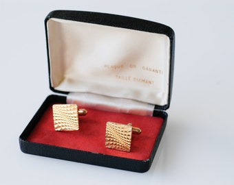cufflinks french gold tone metal dandy fashion midcentury geometric optical art fashion boxed vintage pair fashion made in France 1960s rare