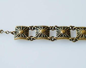 bronze bracelet M BUFFET french vintage designer sunburst chain link bracelet midcentury modernist collectible jewellery made in France