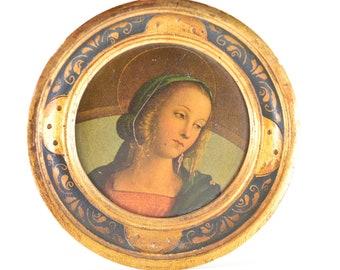 Perugino Madonna vintage wall art Testa di Vergine oval miniature gilded wood icon Italian Galleria Uffizi Firenze C20th repro 13.5 rare 50s