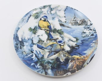HUTSHENRUTHER collectible porcelain plate decorative blaumeisen blue tit bird designs numbered 7768k vintage wall decor made In Germany 1992