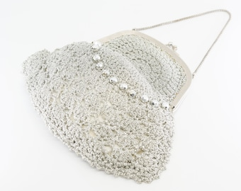 metallic silver thread handbag embroidered mesh clutch evening purse chain handle matching long gloves French vintage wedding prom party 40s