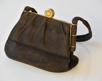 handbag dark brown suede and gold small evening bag top handle cocktail wedding accessory French midcentury modern vintage fashion c.1950s