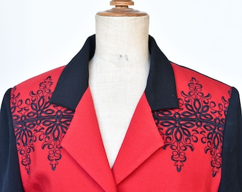80s jacket French vintage designer wool blazer by CHRISTIAN ILLINARES red black two tone embroidery gold button lined long sleeve smart rare