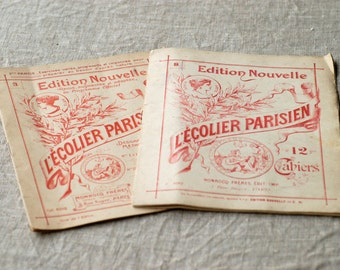 antique drawing book French ancien L'Écolier Parisien collectible vintage craft book children cahier 3-8 beaux arts made in Paris rare pair