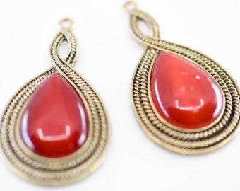 red teardrop dangle earrings glass jewellery findings gold black ornate swirl edge French vintage statement craft supply 5cm matching pair