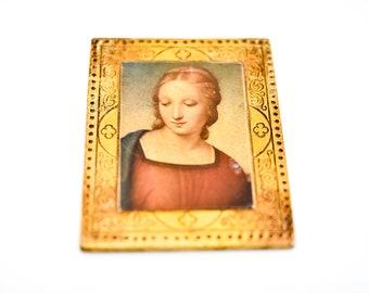 French vintage wall art La Madonna de Cardellino by Raffaello Sanzio gilded wood icon Italian Firenze miniature mid C20th repro 10.5 x 8cm