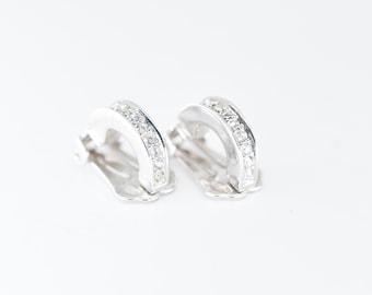 earrings clip-on designer vintage Grossé rhinestone clear diamanté stud hoop elegant evening or wedding glam costume jewellery signed rare