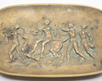 bronze dish French antique art deco metal oval trinket tray classic greek dancers with bull relief stamped verdi gris collectible home decor
