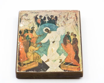 religious wall art French vintage Atelier d'Icones de la Theophane descente aux enfers wood hanging spirituality Christian religious home