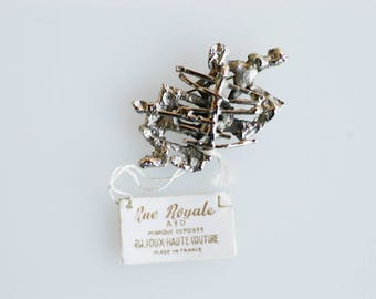 brooch french vintage midcentury modern pin brutalist silver tone metal brutalist retro fashion accessory jewellery collectible NOS c.1960s