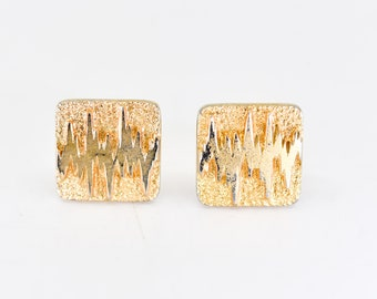 cufflinks vintage modernist brutalist midcentury gold tone textured metal french retro square zig zag dandy collectible jewellery fashion