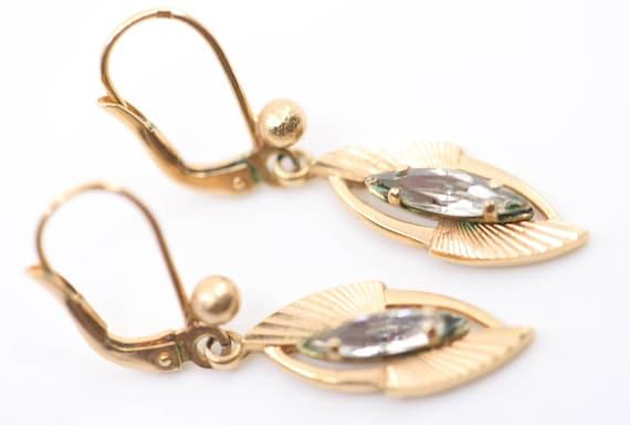 earrings teardrop dangle French vintage art deco s