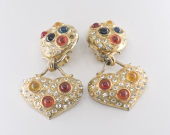 earrings chunky heart dangle drop statement large strass paste gold tone clip ons vintage costume fashion jewellery earlobe glamorous rare