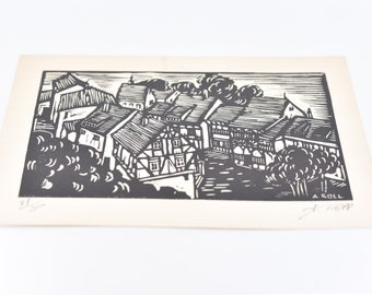 wall art vintage artist signed block print ALFRED ROLL limited edition 87/300 authenticity estampe originale verso monochromatic houses rare