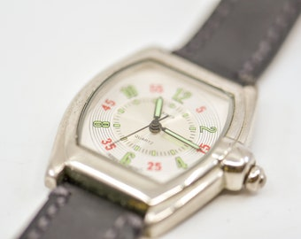 80s watch vintage Bijoux Terner stainless steel back japan movt leather strap oval rectangle red green white face working with new battery