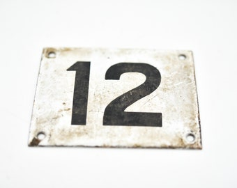 French vintage square enamel door number 12 house sign metal salvage architectural hardware black twelve on white country home improvement