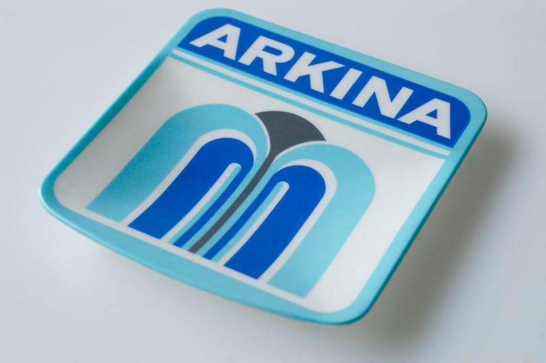 trinket ring dish large square publicity advertising for Arkina vintage organisation storage blue white retro design typeface made Italy 60s