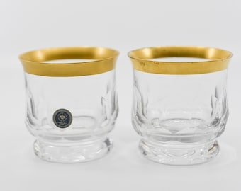 vintage glass ROSENTHAL glasses matching pair crystal tumblers gold rim classic rose collection 24% bleikristall made in Germany c1970s rare