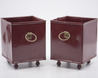metal box red enamel French vintage industrial storage matching pair footed open for display square cache pot office storage loft deco rare