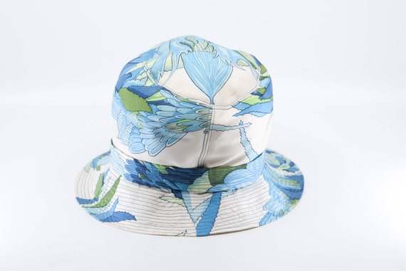 vintage silk HERMES PARIS sun bucket hat blue gre… - image 10