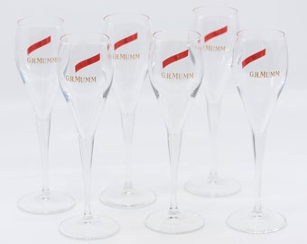 Italian vintage champagne flutes 10cl for MUMMM professional technical tasting stemware glassware by italesse wine accessories six glasses