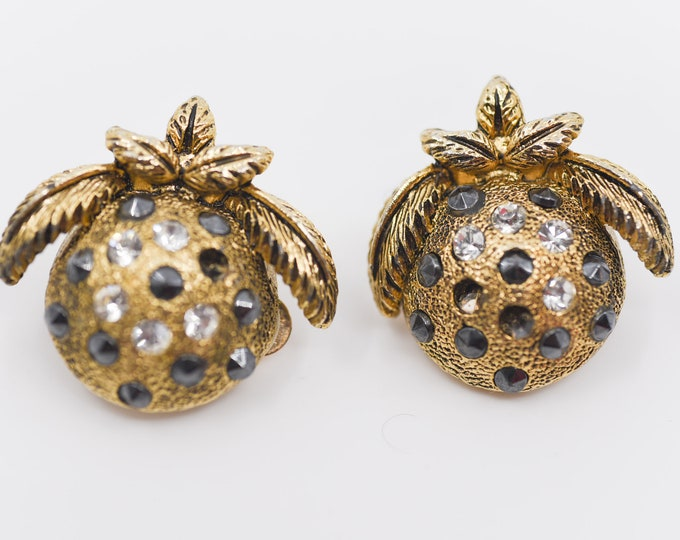 Featured listing image: earrings designer RUTINO clip on Italian vintage round leaf strass retro costume jewellery accessory collectible gift made in Italy 80s rare