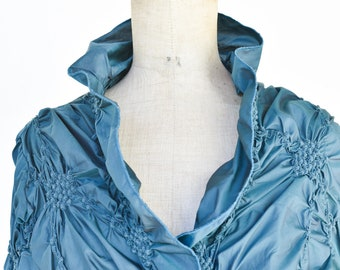ruffle wrap blouse top vintage LEZLEY GEORGE teal knotted handmade long sleeve wrap adult size teal smart wedding evening party jacket rare