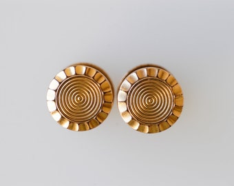 cufflinks French vintage gold tone metal Charles Murat snap popper round scallop edged geometric midcentury modern dandy made in France 50s