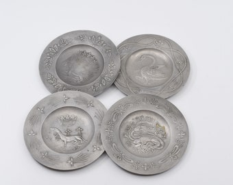 French vintage pewter crowned rose stamp set of four small plates decorated repousse royal emblem of France crown collectible étain fin rare