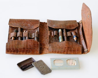 pencil case French antique leather small satchel artist pouch complete with original pencils, nibs and chalk battered shabby chic rare 1940s