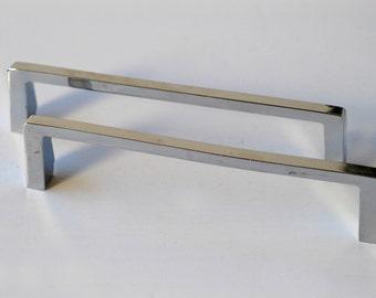 long handles matching pair metal pulls industrial chrome vintage midcentury modern furniture pulls architectural salvage metal hardware 60s