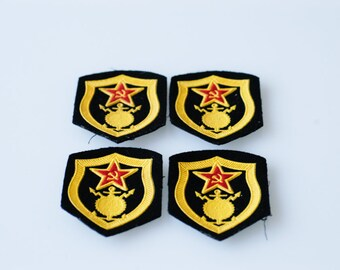 military patches Soviet Union USSR pre-1991 fabric military construction black yellow vintage collectible Russian army badges four matching